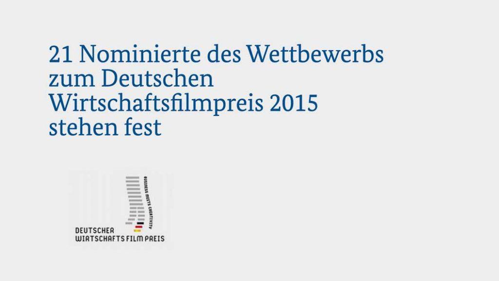Nominiert für den Deutschen Wirtschaftsfilmpreis al dente entertainmnet